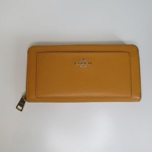 Coach Yellow Accordion Style Zip Leather Wallet